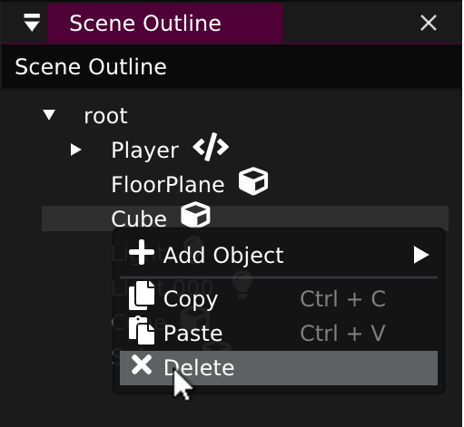 Sceenshot: Getting Started - Delete Object