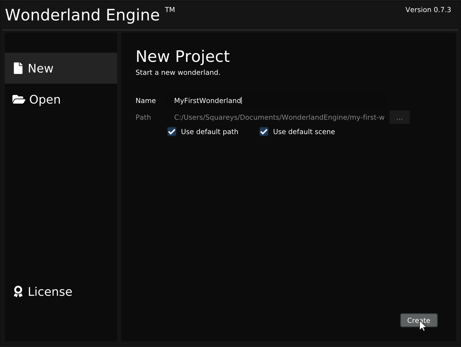 Sceenshot: Getting Started - Project Wizard